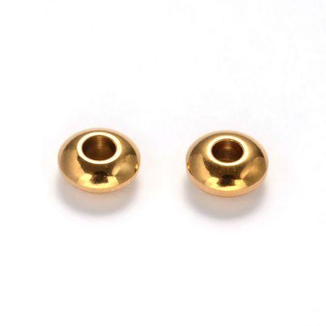 Nerūdijančio plieno 304 intarpas. Aukso spalvos dydis 6x3 mm