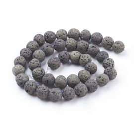 Natural Lava beads, 10-10,5 mm, 1 strand