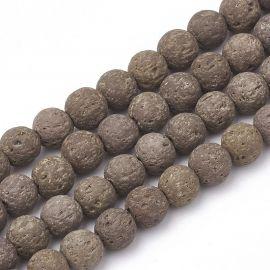 Natūralūs lavos karoliukai, 8-8,5 mm, 1 gija