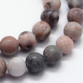 Natūralūs rožinio zebrinio jaspio karoliukai, 8 mm, 1 gija