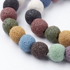 Natural Lava beads, 12 mm, 1 strand