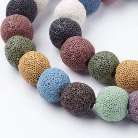 Natural Lava beads, 12 mm, 1 strand