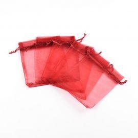 Organzos maišeliai. Tamsiai raudonos spalvos (vyšninės) dydis 12x10 cm rankdarbiams