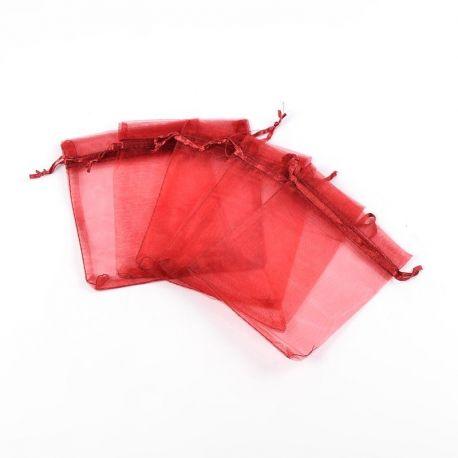 Organzos maišeliai. Tamsiai raudonos spalvos (vyšninės) dydis 12x10 cm