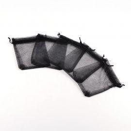 Organzos maišeliai. Juodos spalvos dydis 12x10 cm