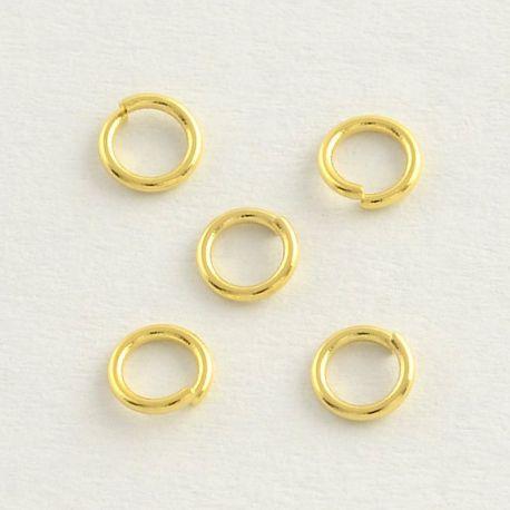 Nerūdijančio plieno 304 viengubas atviras žiedelis. Aukso spalvos dydis 5x0,8 mm