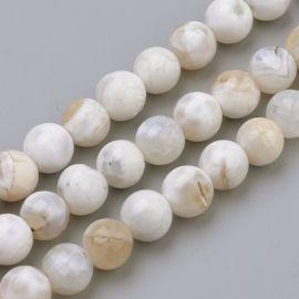 Agato karoliukai. Baltos-oranžinės spalvos dydis 8 mm