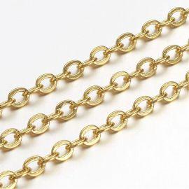 Žalvarinė Chain, 3,5x3x0,5 mm, ~10 meters., 1 ritinėlis