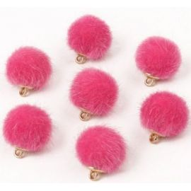 Fur bumblebees. Bright pink size 18x16 mm