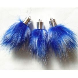 Artificial hair fur bulge. White-blue size 14 mm, length 8 mm