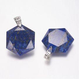 Natūralus Lapis Lazuli pakabukas. Tamsiai mėlynos spalvos su aukso spalvos dulkėmis dydis 41x28x9 mm rankdarbiams