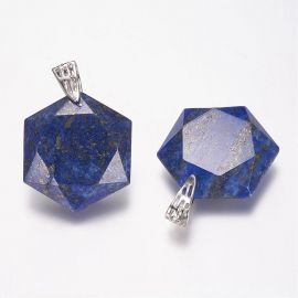 Natūralus Lapis Lazuli pakabukas. Tamsiai mėlynos spalvos su aukso spalvos dulkėmis dydis 41x28x9 mm