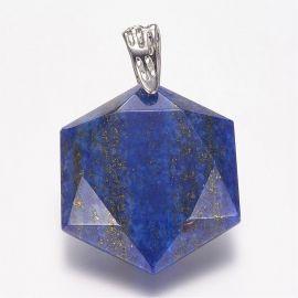 Natūralus Lapis Lazuli pakabukas, 41x28x9 mm, 1 vnt