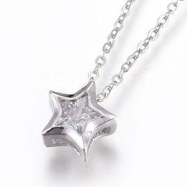 Nerūdijančio plieno 304 Chain with Zirconium pendant, , 1 pc
