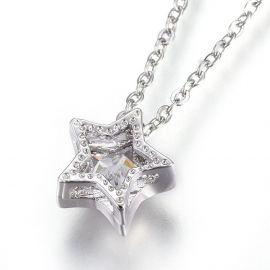 Stainless steel 304 chain with Zirconium pendant, 1 pcs