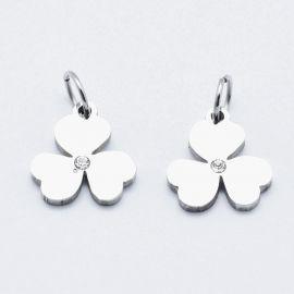 """Nerūdijančio plieno 316 pendant with Zirconium eye """"Dobilo leaf"""", 11x10x1,5 mm, 1 pc"""