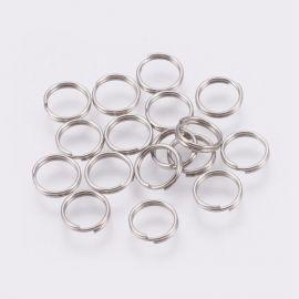 Nerūdijančio plieno 304 dvigubi jump rings, 7x0,6 mm, 30 pc., 1 bag