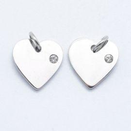 "Nerūdijančio plieno 316 pendant with Zirconium eye ""Širdis"", 12x12x2 mm, 1 pc"