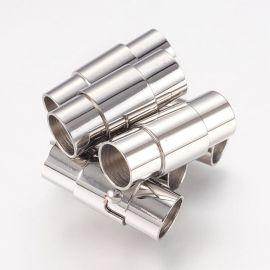 Nerūdijančio plieno 304 magnetinis užsegimas su papildomu fiksavimu. Platinos spalvos dydis 18x7 mm