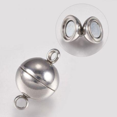 Nerūdijančio plieno 304 magnetinis užsegimas. Nikelio spalvos dydis 16x10 mm