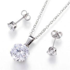 Nerūdijančio plieno 304 set - Chain with pendant+auskarai with Zirconium eye, 10 mm, 1 set