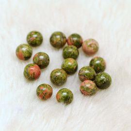 Pusiau gręžti natūralaus unakito beads, 8 mm, 2 pc., 1 bag