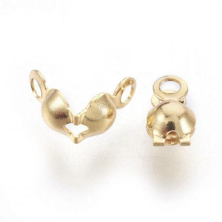 Nerūdijančio plieno 304 užspaudžiamas burbuliukas. Aukso spalvos dydis 8x4 mm
