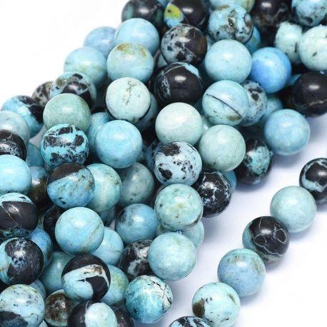 Natūralūs Mėlynojo Opalo karoliukai. Žydros - mėlynos spalvos su juodos spalvos inkliuzais dydis 10 mm