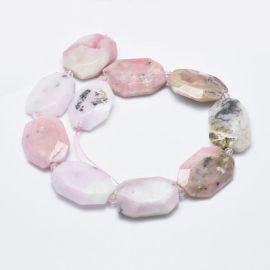 Natural Rausvojo Opal beads - charms 31-36x24-26x2-3 mm 1 pc