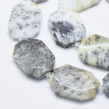 Natūralus Opalo Dendritas. Baltos - gelsvos - pilkos - juodos spalvosbriaunuoti dydis 31-36x24-26x6-8 mm
