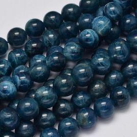 Natūralūs Apatito karoliukai. Tamsiai mėlynos spalvos dydis 8 mm