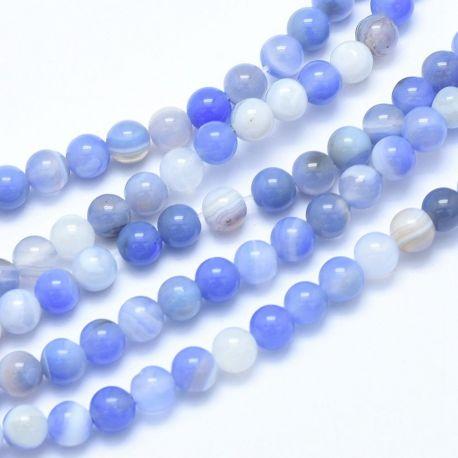 Natūralūs Mėlynojo Chalcedono karoliukai. Melsvos-baltos spalvosdažyti dydis 6 mm
