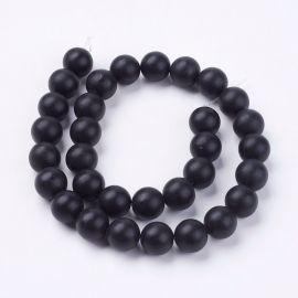 Black stone beads 12 mm 1 strand