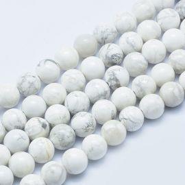 Natūralūs Houlito karoliukai. Baltos spalvos su pilkos spalvos intarpais dydis 8 mm