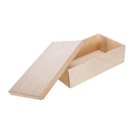 Medinė dėžutė su nuimamu dangteliu. Natūrali medžio dydis 36x19,5x12 cm