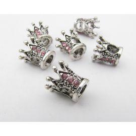 Intarpas rankdarbiams, suvenyrams, sendintos sidabro spalvos su rožinės spalvos akutėmis , dydis 10x10 mm 1 vnt