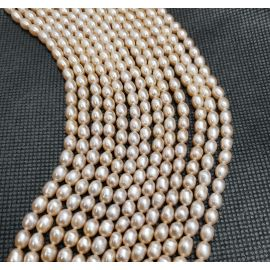 Natural Freshwater Pearls Class A 6-6.5x4 mm. ,1 thread