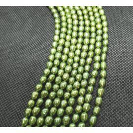 Tikri Natūralūs Gėlavandeniai perlai A klasės vėriniams, apyrankėms, papuošalams žalios spalvos dydis 5,5-6x4-4,5 mm