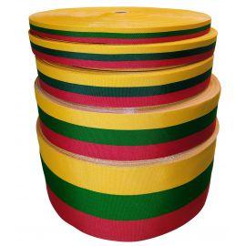 Austa lietuviška tautinė trispalvė juostelė 50 mm, 1 m.