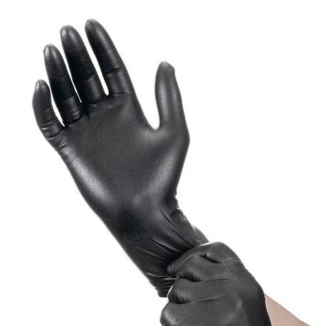 Vienkartinės Nitrilinės pirštinės XL dydis, juodos spalvos be pudros be latektso - 5 poros