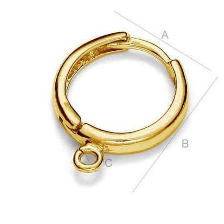 Paauksuoti auskarų kabliukai 925 17x15 mm. 1 pora aukso spalvos