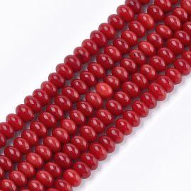 Jūrinis Bambukinis koralas (koralo imitacija) 6x4 mm., 1 gija ryškiai raudonos spalvos