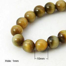 Natūralūs Tigro akies karoliukai 10 mm., 1 gija