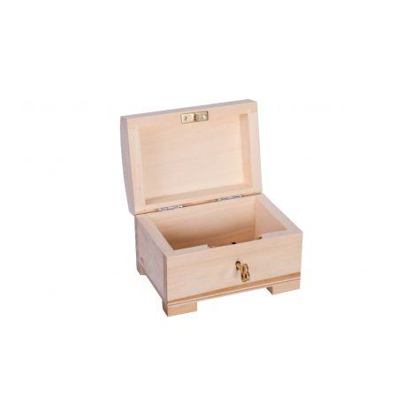 Medinė dėžutė - skrynelė su rakteliu 10x7x7 cm