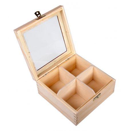 Medinė dėžutė arbatai su stiklu 16x16x8 cm