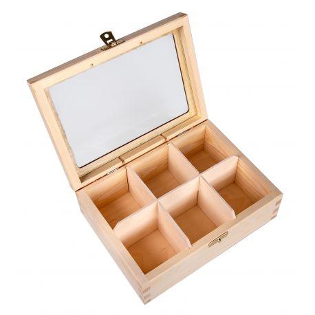 Medinė dėžutė arbatai su stiklu 22x16x8 cm