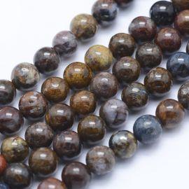 Natūralūs Pietersito karoliukai 6 mm., 1 gija rakndarbiams rudos-pilkos-melsvos-gelsvos spalvos