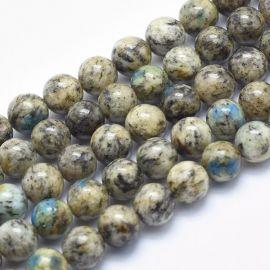 Natūralūs K2 Granito-Jaspio-Azurito karoliukai 8 mm., 1 gija