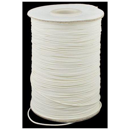 Vaškuota poliesterio virvutė 0.80 mm., 1 metras rakndarbiams baltos spalvos