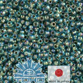 TOHO® Biseris Gold-Lined Rainbow Aqua 11/0 (2,2 mm) 10 g.